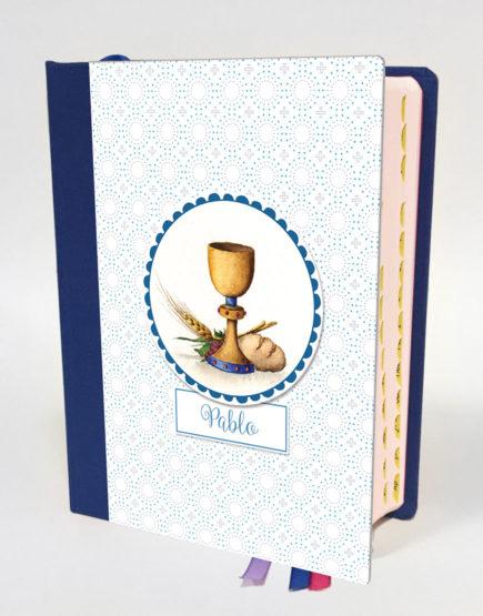 Biblia Cáliz Modelo Círculos Punteados Azules