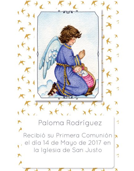 Estampita Comunión Ángel Birds Paloma