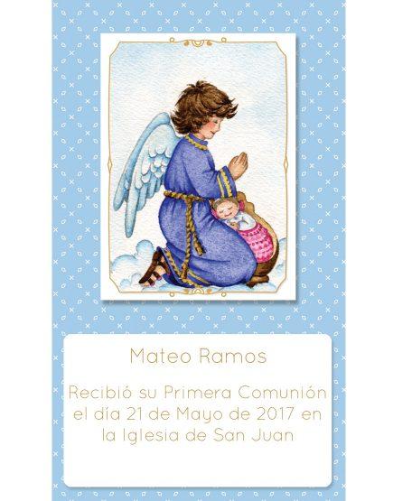 Estampita Comunión Ángel Celeste Mateo