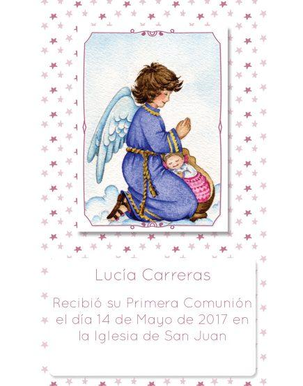 Estampita de Comunión Ángel Estrellitas Lucía