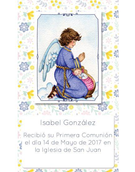Estampita de Comunión Ángel Flores Isabel