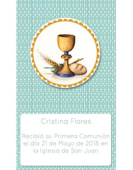 Estampita Comunión Cáliz Cristina