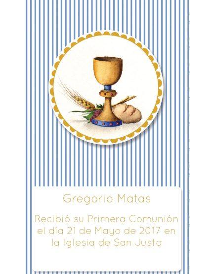 Estampita Comunión Cáliz Gregorio