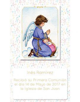 Estampita de Comunión Ángel Colores Inés