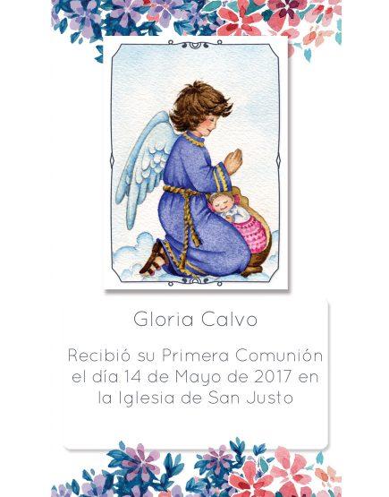 Estampita de Comunión Ángel Flores Gloria