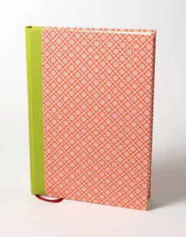 Cuaderno en Blanco Papel Italiano Naranja con Lomo Verde
